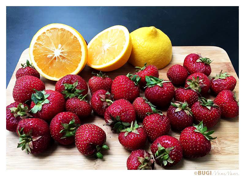 jordbær og appelsin